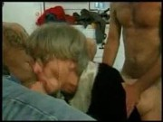 grand mom trys gangbang with several youthful guys